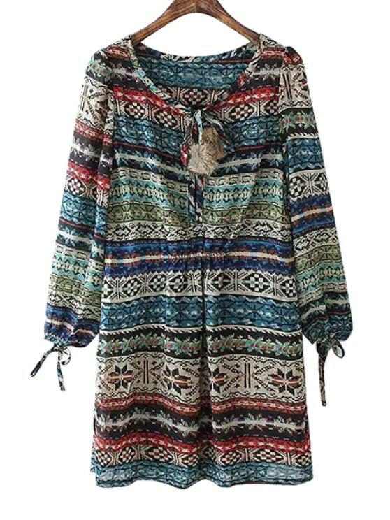 new Print Long Sleeve Chiffon Dress - COLORMIX ONE SIZE(FIT SIZE XS TO M)