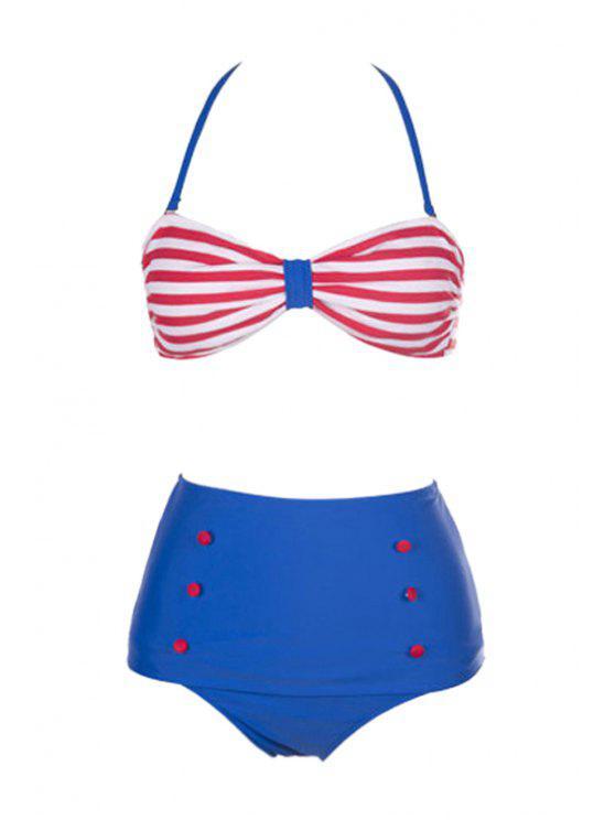 hot White Red Stripe High Waist Bikini Set - RED WITH WHITE S