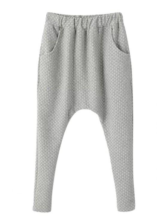 new Solid Color Narrow Feet Harem Pants - GRAY ONE SIZE(FIT SIZE XS TO M)