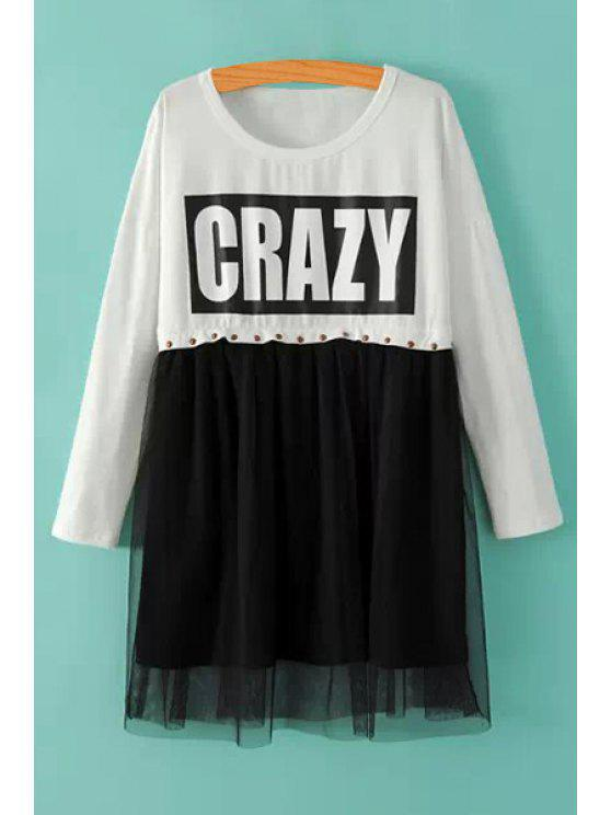 outfits Voile Splicing Letter Print T-Shirt - WHITE ONE SIZE(FIT SIZE XS TO M)