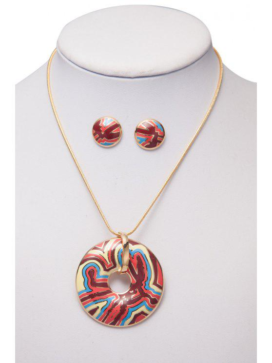 womens Printed Round Shape Necklace And Earrings - AS THE PICTURE