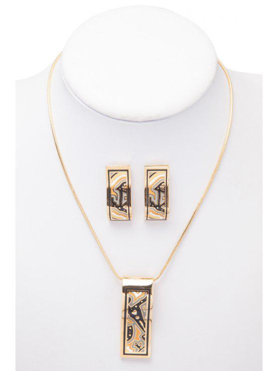 ladies Rectangle Shape Pattern Decorated Necklace And Earrings - AS THE PICTURE
