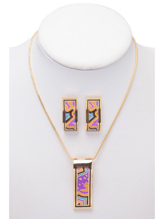lady Pattern Decorated Rectangle Shape Necklace And Earrings - AS THE PICTURE