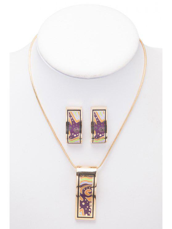best Pattern Decorated Geometric Shape Necklace And Earrings - AS THE PICTURE