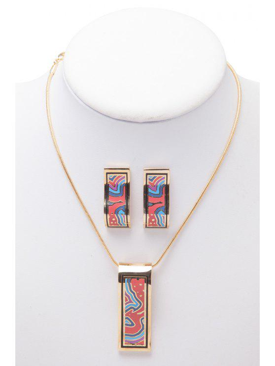 online Geometric Shape Necklace And Earrings - AS THE PICTURE