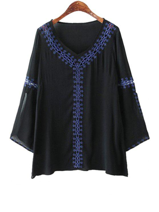outfit Embroidery Openwork Long Sleeve Shirt - BLACK S