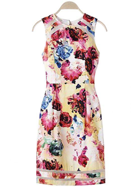 latest Floral Print Voile Splicing Openwork Dress - COLORMIX XL