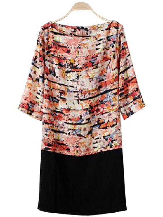 ladies Splicing Floral Print Half Sleeve Dress - COLORMIX L