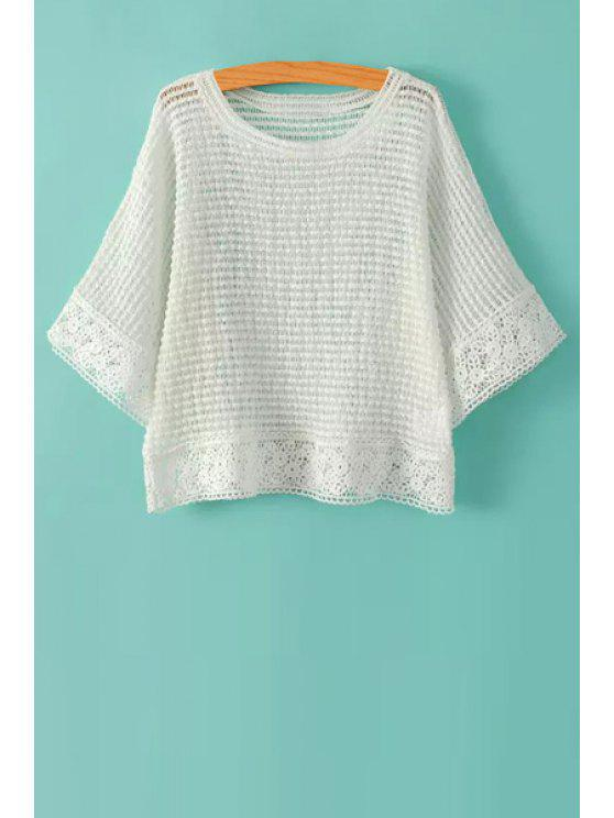 trendy Hollow Hem 3/4 Sleeve Knitwear - WHITE ONE SIZE(FIT SIZE XS TO M)