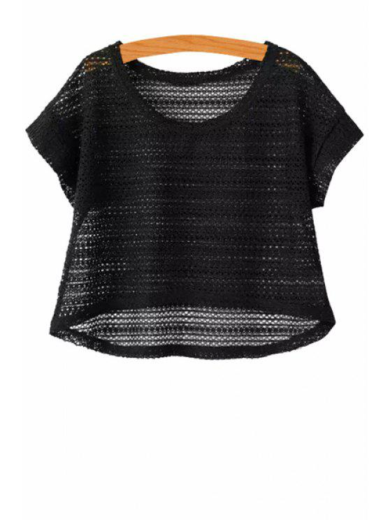 chic Solid Color Short Sleeves Knitwear - BLACK ONE SIZE(FIT SIZE XS TO M)