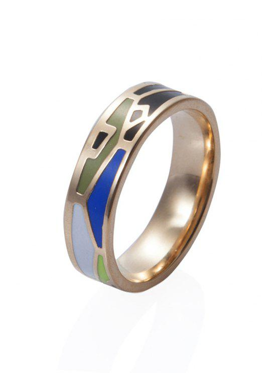 buy Round Printed Chic Ring - GOLDEN 16