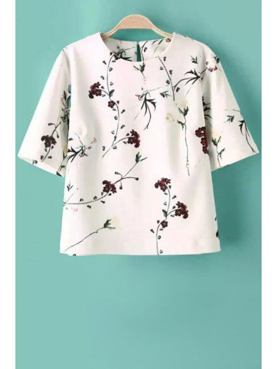 buy Jewel Neck Floral Print Short Sleeve T-Shirt - WHITE S