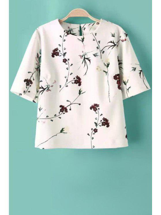 buy Jewel Neck Floral Print Short Sleeve T-Shirt - WHITE S