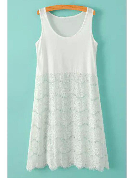buy Lace Splicing Solid Color Sundress - WHITE ONE SIZE(FIT SIZE XS TO M)
