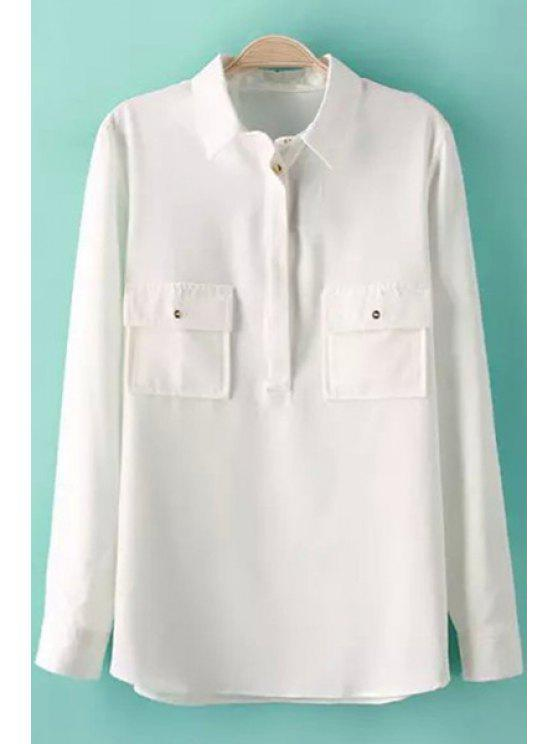 shops Pockets Solid Color Long Sleeve Shirt - WHITE S