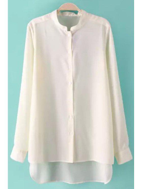 chic Stand-Up Collar Asymmetrical Solid Color Shirt - WHITE S