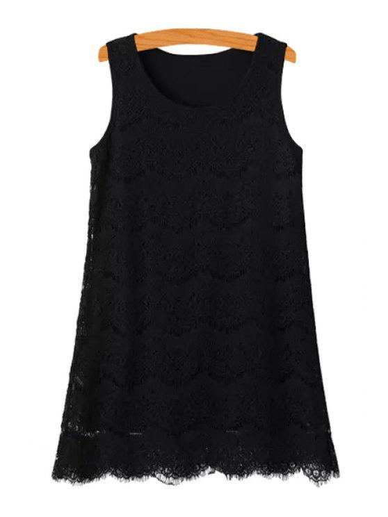 unique Lace Solid Color Sundress - BLACK ONE SIZE(FIT SIZE XS TO M)