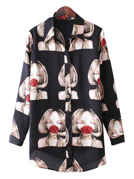 affordable Girl and Rose Print Long Sleeve Shirt - BLACK S