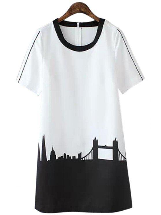 outfit Castle Print Color Block Dress - WHITE S