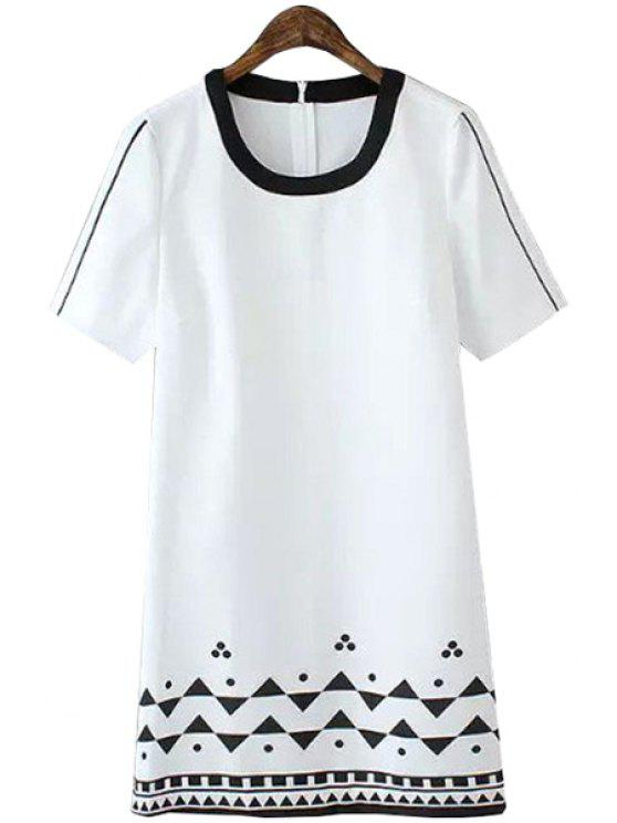 chic Geometric Print Color Block Dress - WHITE S