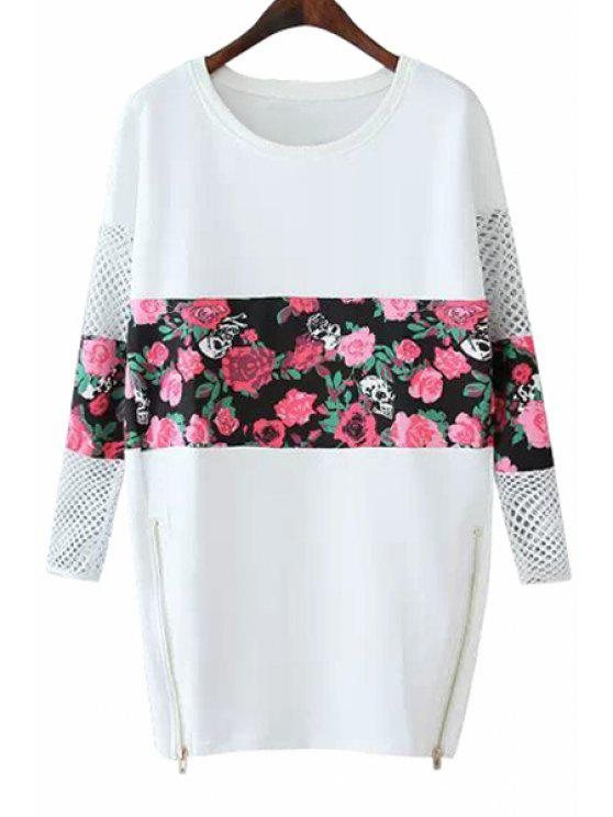 trendy Floral Splicing Long Sleeves Dress - WHITE M