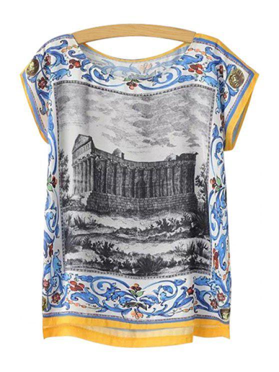 ladies Build and Floral Print T-Shirt - COLORMIX S