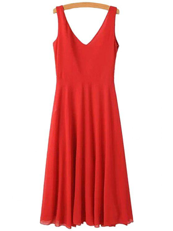 buy Solid Color Backless Tie-Up Dress - RED L