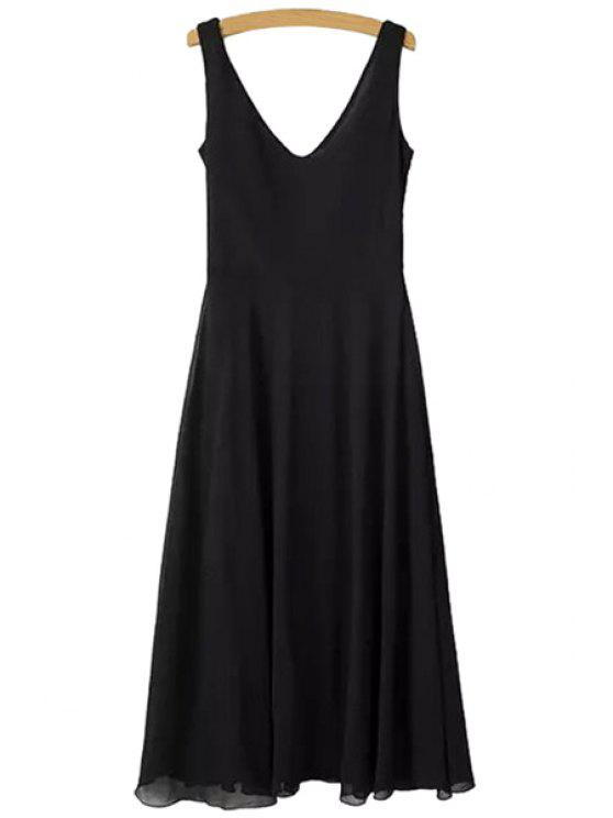 women's Solid Color Backless Tie-Up Dress - BLACK L