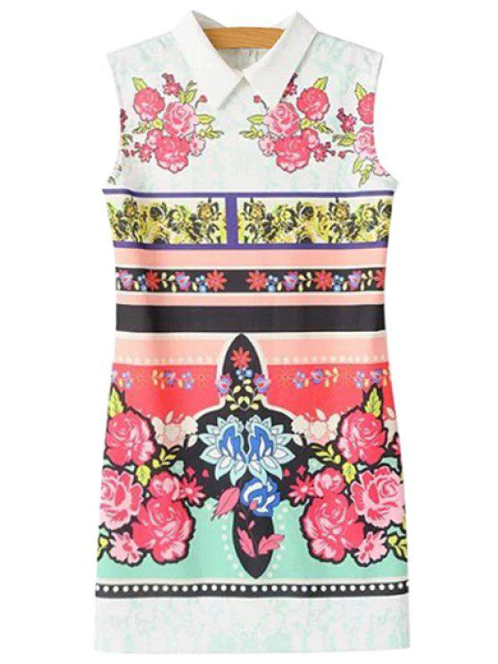 unique Turn-Down Collar Colorful Floral Print Dress - WHITE S
