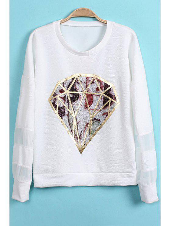 new Diamond Pattern Chiffon Splicing T-Shirt - WHITE ONE SIZE(FIT SIZE XS TO M)