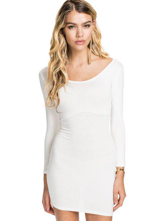 online Solid Color 3/4 Sleeves Dress - WHITE S