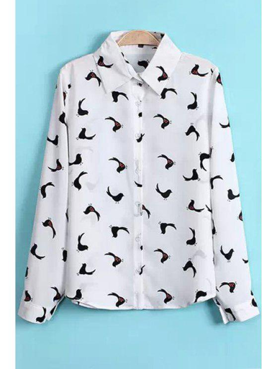 new Polo Collar Birds Print Shirt - WHITE S