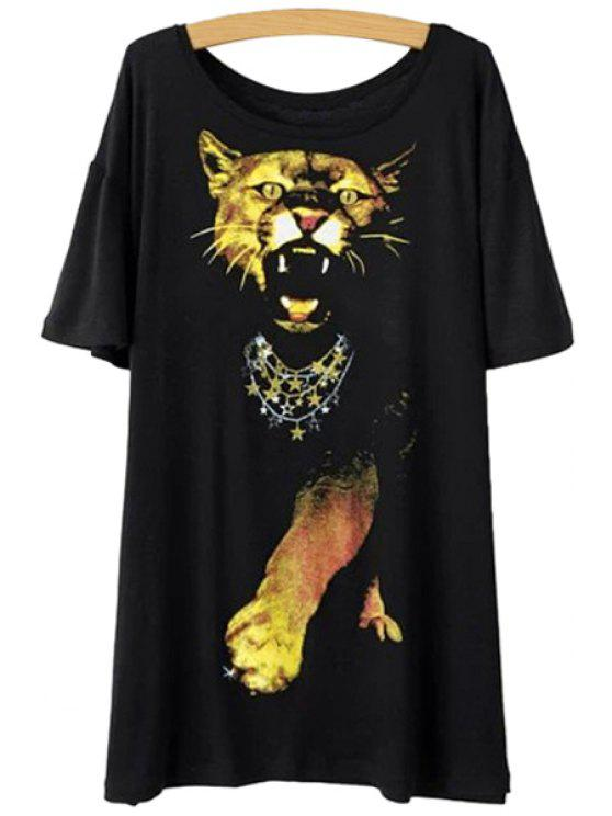 hot Leopard Print Short Sleeve T-Shirt - BLACK ONE SIZE(FIT SIZE XS TO M)