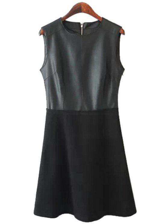 lady Faux Leather Splicing Zipper Dress - BLACK S