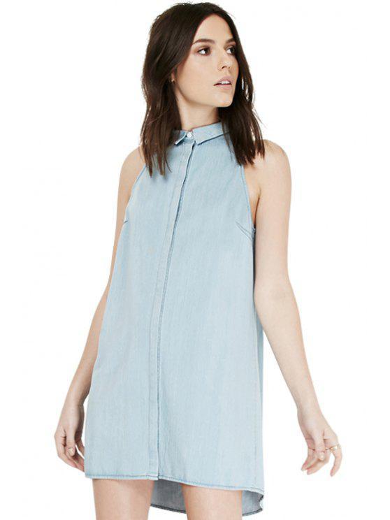 best Solid Color Denim Sleeveless Dress - LIGHT BLUE S