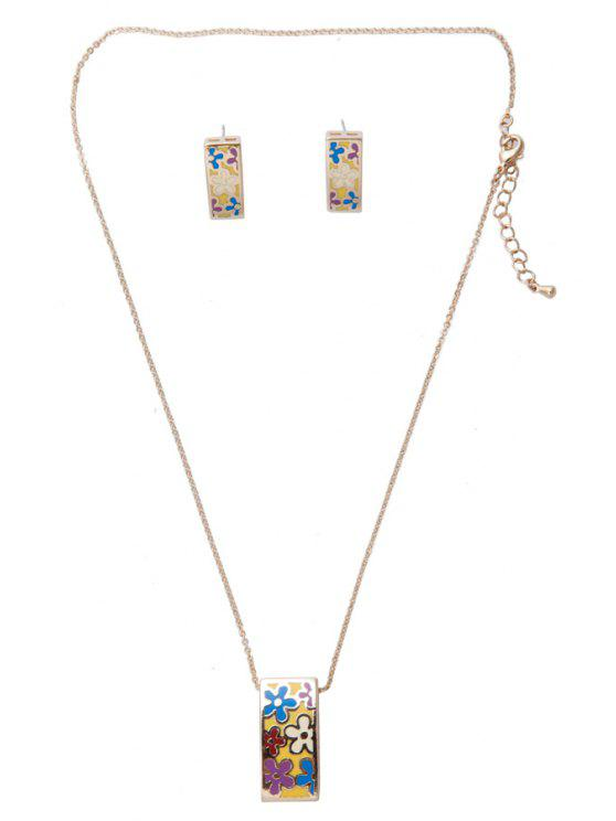 trendy Flower Pattern Geometric Shape Necklace And Earrings - AS THE PICTURE
