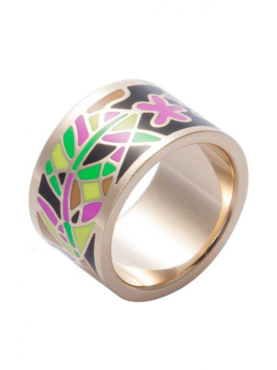 ladies Flower Pattern Wide Round Shape Ring - COLORMIX 16