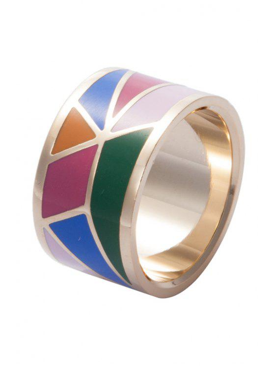 lady Wide Round Geometric Print Ring - COLORMIX 16