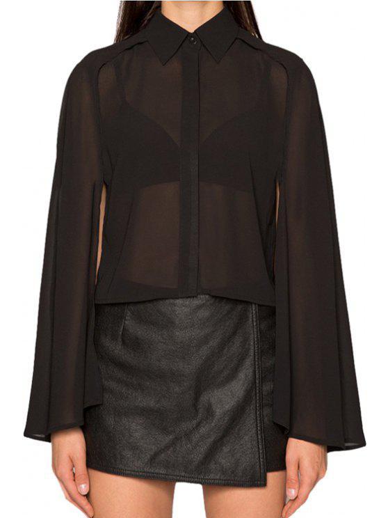lady Black Chiffon Cape-Style Shirt - BLACK S