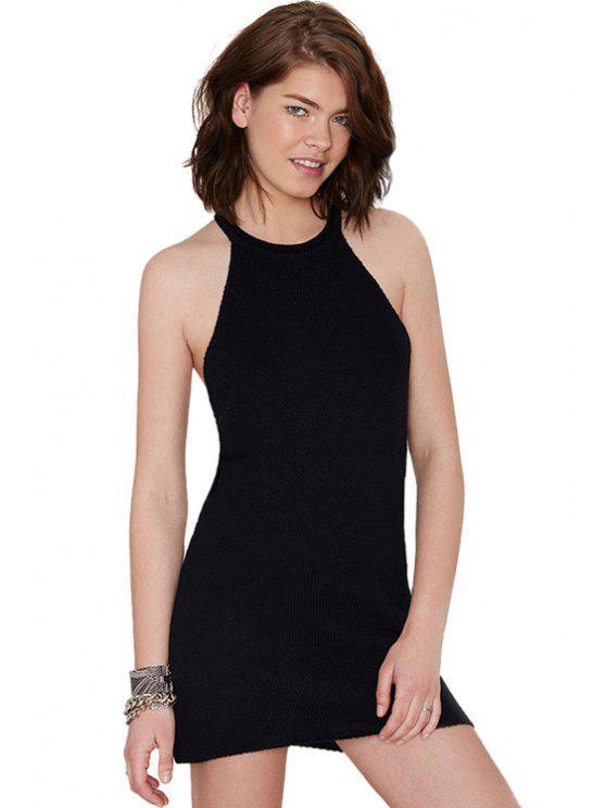 latest Black Sleeveless Knit Dress - BLACK S