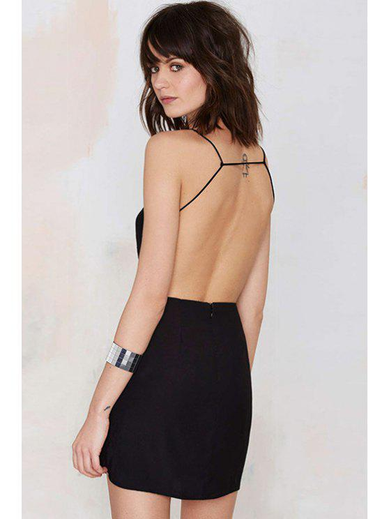 affordable Black Spaghetti Straps Backless Dress - BLACK S
