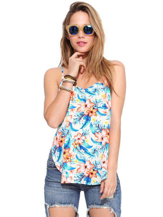 ladies Backless Floral Print Side Slit Tank Top - COLORMIX XS
