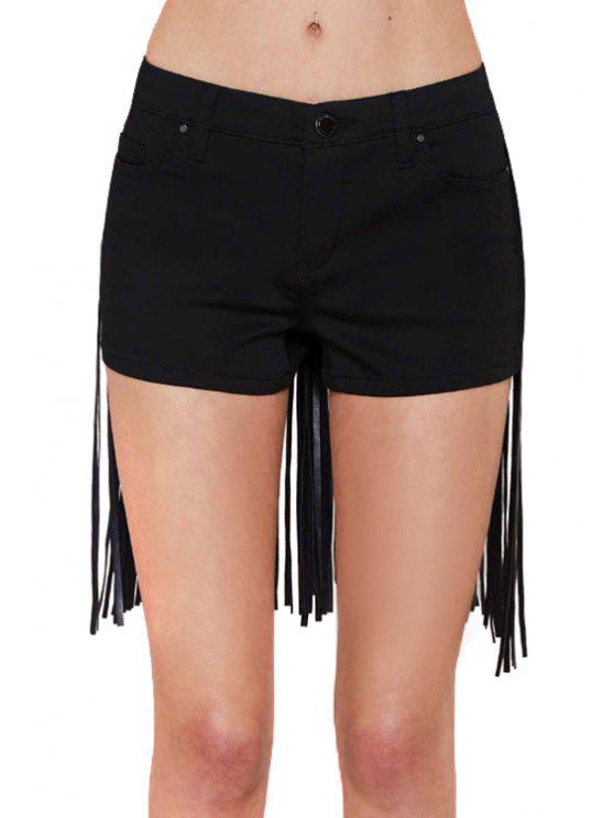 sale Fringe Splicing Solid Color Shorts - BLACK XS