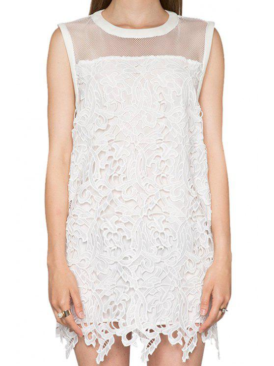 best Crochet Splicing Sleeveless Dress - WHITE S