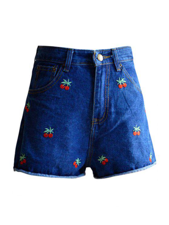 sale Cherry Embroidery Denim Shorts - DEEP BLUE S