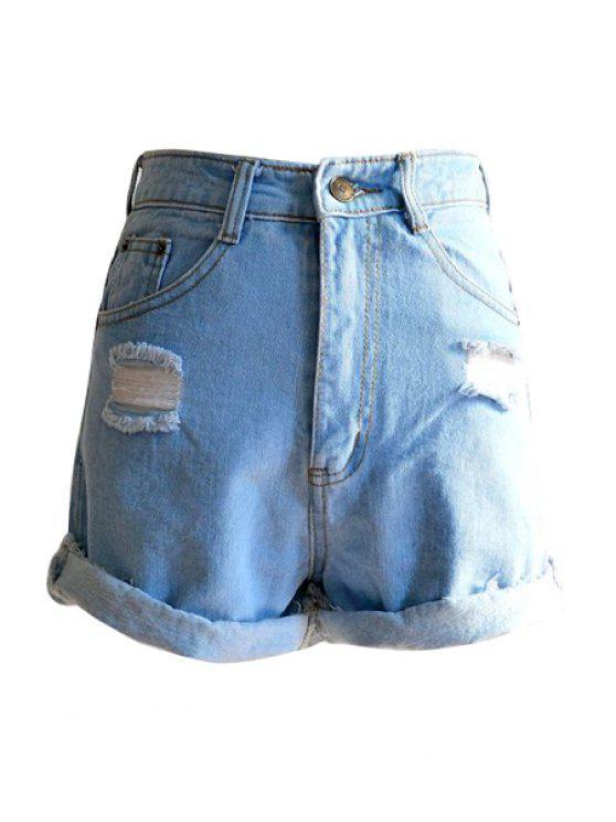 lady Bleach Wash Fray Hemming Denim Shorts - LIGHT BLUE S