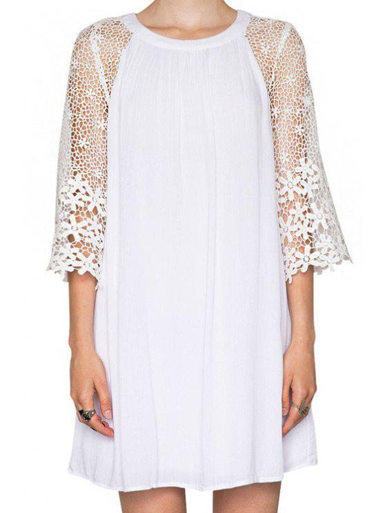 fashion Crochet Splicing 3/4 Sleeves Dress - WHITE S