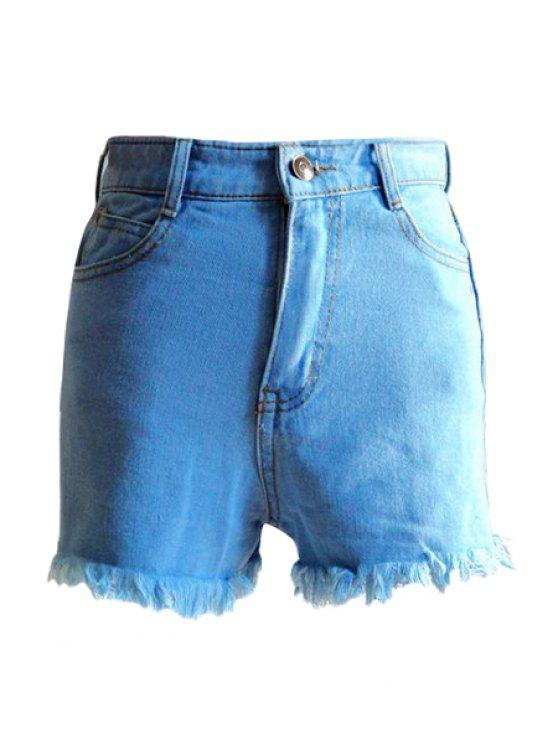 outfit Bleach Wash Fringe Denim Shorts - LIGHT BLUE S