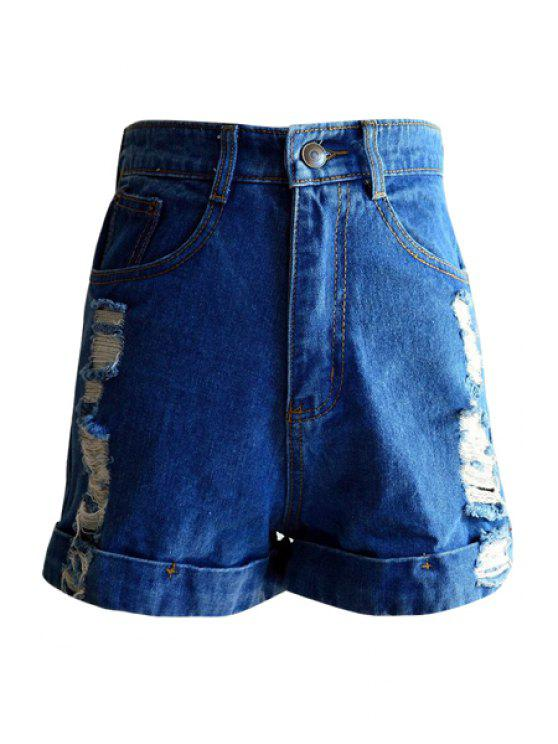 fashion Fray Hemming Denim Shorts - DEEP BLUE S