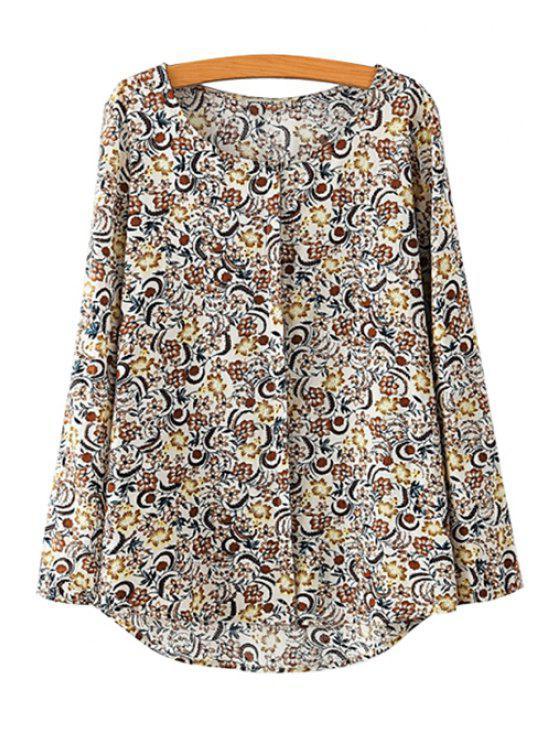 chic Scoop Neck Print Asymmetrical Shirt - BEIGE S